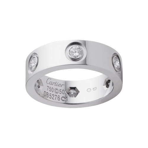 Best cartier love white gold ring fake with 6 diamonds