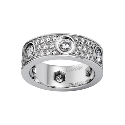 Le meilleur bague or blanc love cartier imitation pavée de diamants
