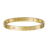 Good quality cartier love yellow gold bracelet fake with 4 Diamonds