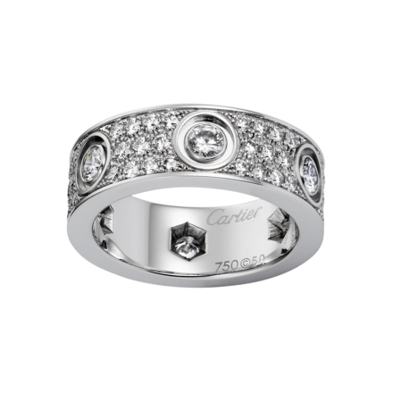 Best cartier love white gold ring imitation with paved diamonds