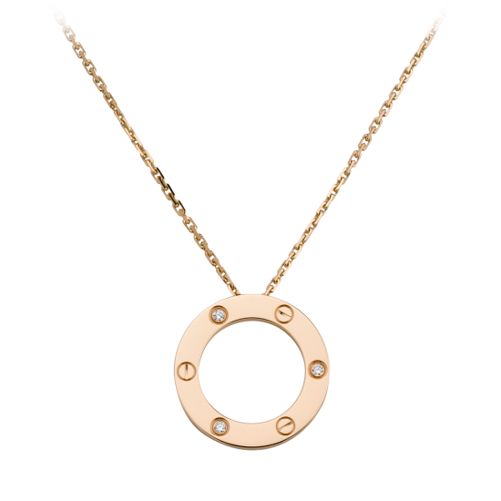 AAA cartier love pink gold pendant fake with 3 diamonds - Click Image to Close