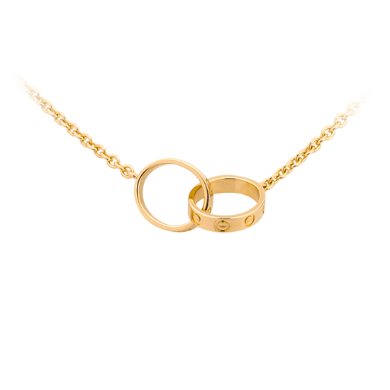 AAA cartier love yellow gold with double rings necklace replica with double rings - Click Image to Close