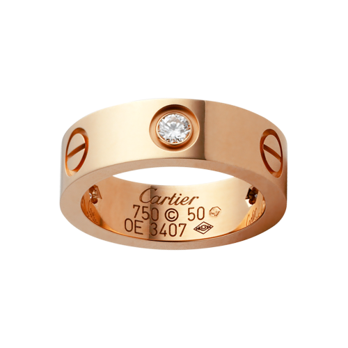 Migliore anello oro rosa love cartier copia con 3 diamanti