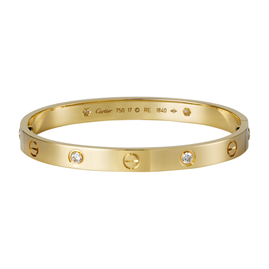 Good quality cartier love yellow gold bracelet fake with 4 Diamonds - Click Image to Close