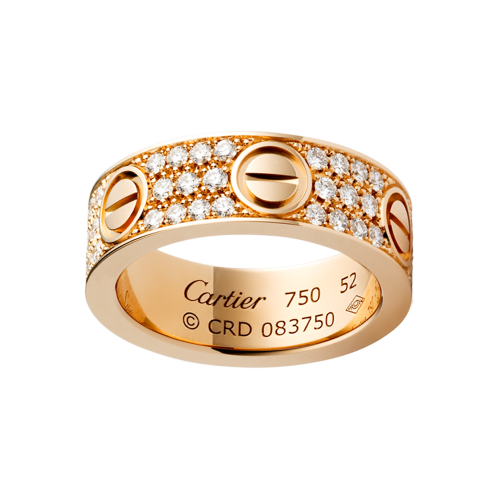 Best cartier love pink gold ring fake with paved diamonds