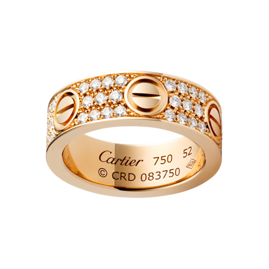 Best cartier love pink gold ring fake with paved diamonds - Click Image to Close