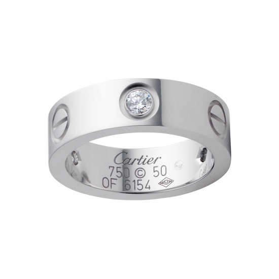 Best cartier love white gold ring copy with 3 diamonds - Click Image to Close
