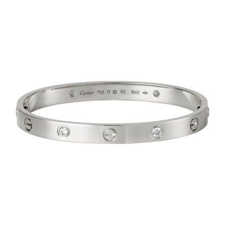 Good quality cartier love white gold bracelet fake with 4 Diamonds