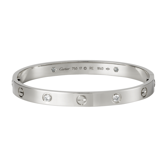 Good quality cartier love white gold bracelet fake with 4 Diamonds - Click Image to Close
