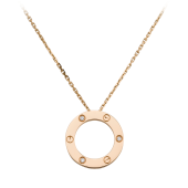 AAA pendente oro rosa love cartier falso con 3 diamanti