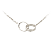 AAA cartier love white gold with double rings necklace replica