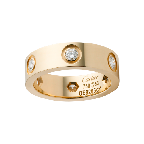 Best cartier love yellow gold ring imitation with 6 diamonds