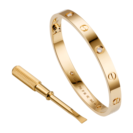 Good quality cartier love pink gold bracelet fake with 4 Diamonds - Click Image to Close