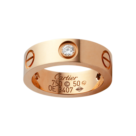 Best cartier love pink gold ring copy with 3 diamonds